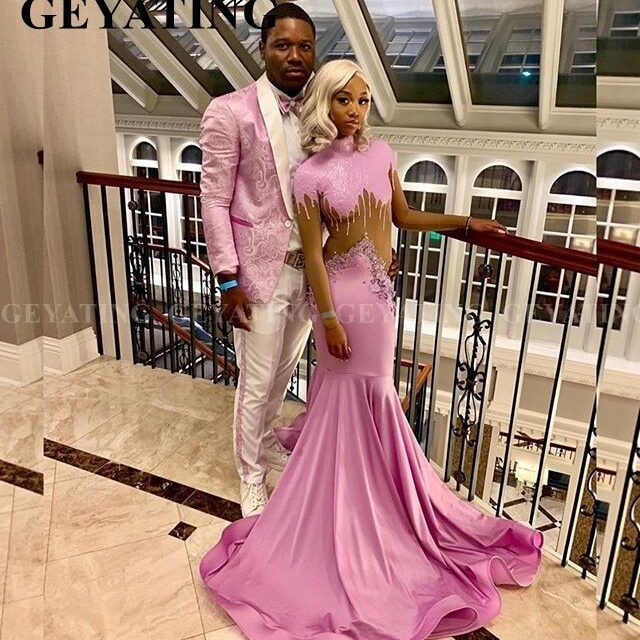 Black-Girls-Long-Sleeve-Mermaid-Pink-Prom-Dresses-2020-High-Neck-Long-Train-Plus-Size-African